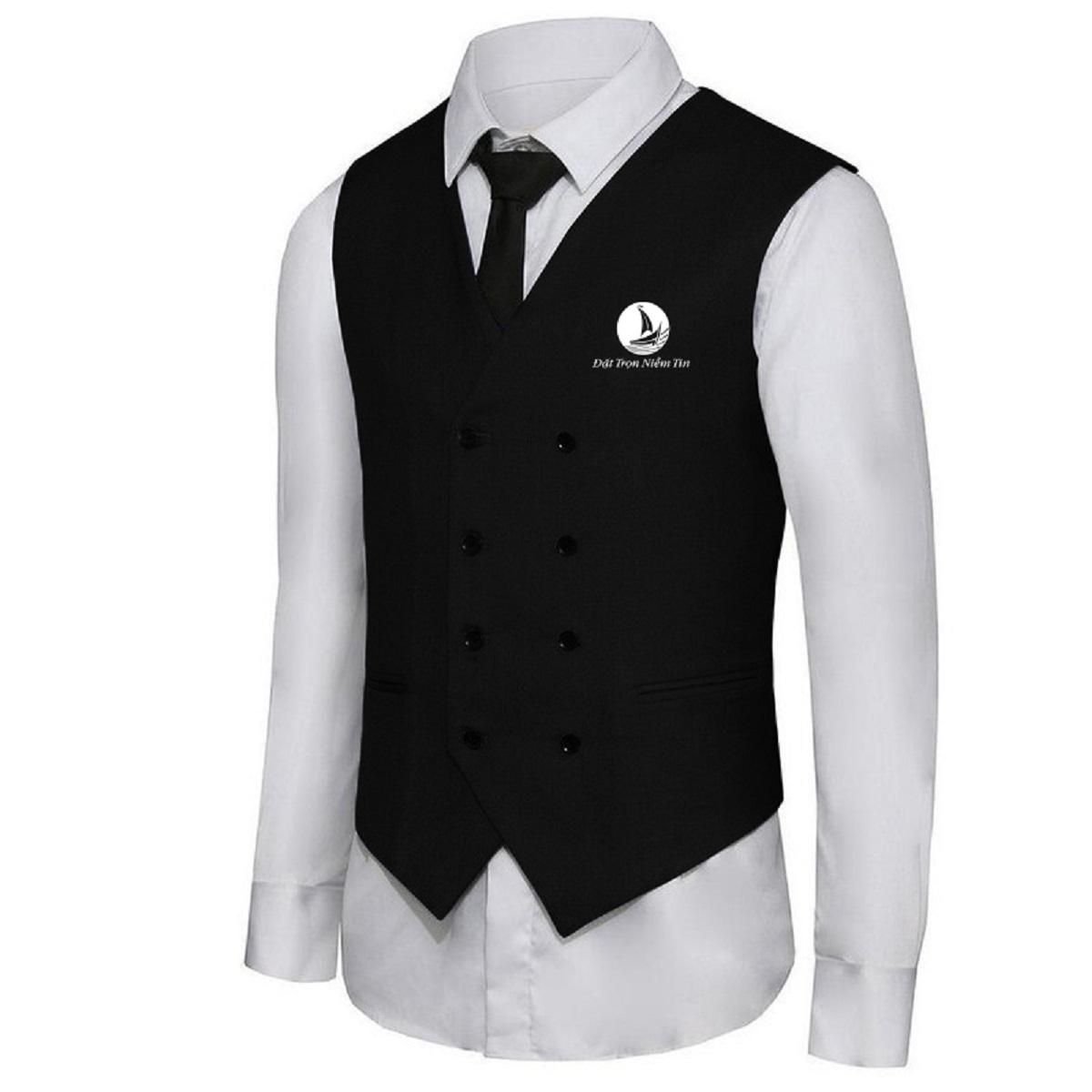 Đồng phục lễ tân Nam áo gile kết hợp sơ mi trắng